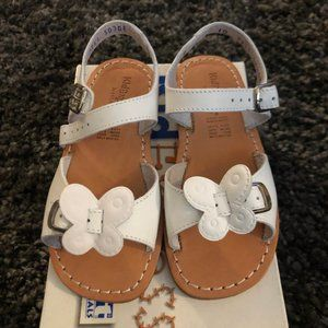 Girls Kid Express White Leather Butterfly Sandals